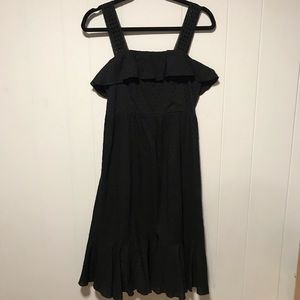 J Crew black eyelet ruffled hem and neckline dress